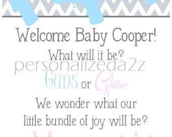 Baby Gender Reveal Baby Photo Album Sonogram Ultrasound Boy Girl Neutral Gender Gun Crown Glitter 4x6 5x7 Picture Advice Card Wish Book #819