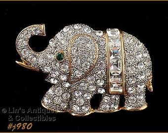 Eisenberg Ice Elephant Pin, Eisenberg Ice Full Figure Clear Rhinestones Gold Tone Elephant Pin 2 Available (Inventory #J980)