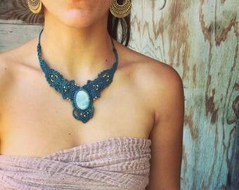Amazonite MACRAME NECKLACE- adjustable macrame necklace, ethnic necklace, boho jewelry, crystal necklace, tribal Macrame Necklace