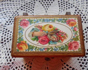 wooden box with vintage card