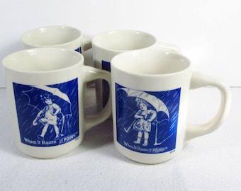 Set of 4 vintage Morton Salt Company memorabilia cups.