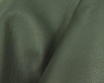 """Deep Forest Pine Green """"Signature""""  Leather Cow Hide 8"""" x 10"""" Pre-cut 2-3 oz flat grain DE-61625 (Sec. 8,Shelf 3,C)"""