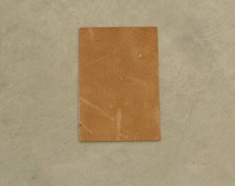 """Grunge Heavy Light Brown Leather Cowhide 4"""" x 6"""" Pre-cut 6-7 ounces DE-64776 (Sec. 3,Shelf 6,A,Box 2)"""