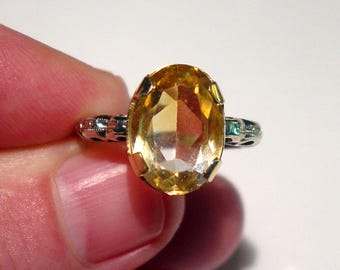 Antique Art Deco 14K White and Yellow Gold Citrine Solitaire ENGAGEMENT Ring