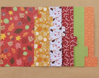 Set 6 dividers for Filofax Personal, planner dividers, fantasy cardboard dividers, autumn planner colors