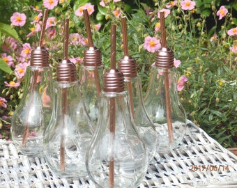 Rose gold Retro Light Bulb Drinking Glass. Perfect for Hen Parties