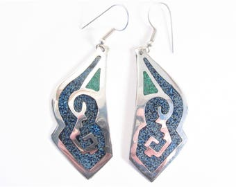 Large Vintage Mexican Inlaid Dangle Earrings