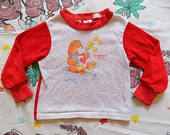 Vintage 80's Care Bears Tenderheart Bear Toddler Night Shirt, size 2T-3T 1983 80's cartoon