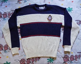 Vintage 80's Super Bowl XXIV New Orleans Cliff Engle Sweater, size Medium 1989 NFL striped sweater