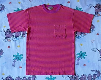 Vintage 90's Neon Pink and Orange Striped Pocket T shirt, size Small soft and thin Bright Colored
