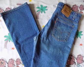 Vintage 80's/90's Levi's 517 Boot Cut Jeans, 34x34 USA made lightly worn Orange Tab high waist