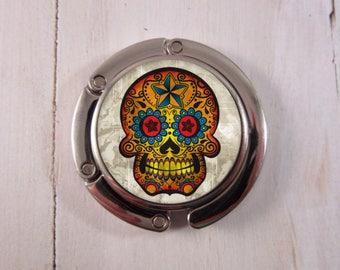 Sugar Skull Purse Hanger, Handbag Hook, Purse Hook, Dia de los Muertos Purse Hanger, Calavera Purse Hook, Day of the Dead Purse Hook