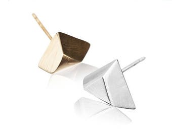 ON SALE Trimmed Pyramid Geometric Earrings, 14K Gold Plated / 925 Silver Minimalist Stud Earrings - Handmade Product