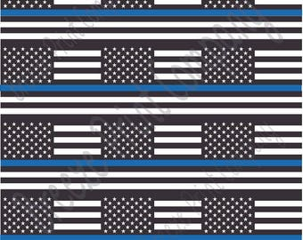 Police Blue line black and white American flag print craft vinyl sheet - HTV or Adhesive Vinyl -   HTV1568
