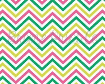 Green, lime and hot pink chevron craft patterned vinyl sheet - HTV or Adhesive Vinyl - printed vinyl,  zig zag pattern  HTV269