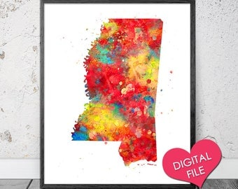 Mississippi Map Watercolor, PRINTABLE Art, Digital Download, Mississippi State Art, Mississippi Printable Map, Mississippi Print, State Map