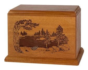 Mahogany Lakeshore Wood Cremation Urn