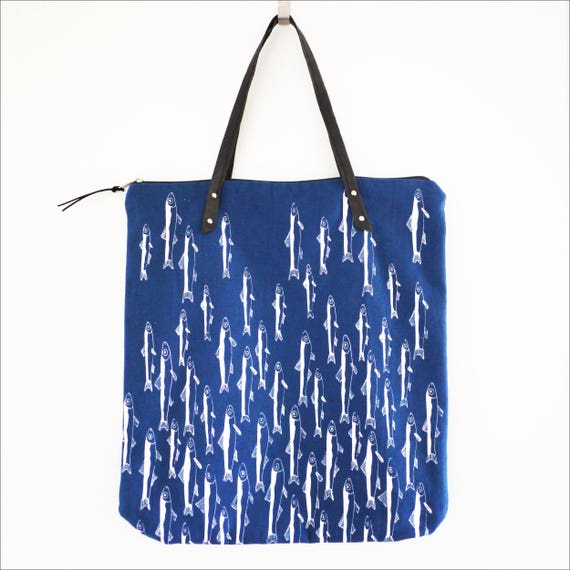 """Light"" blue and white Shopping bag, anchovies print"