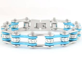 Women's Ladies Motorcycle Stainless Steel Crystal Turquoise Bike Chain Bracelet
