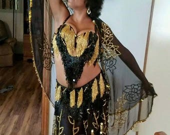 Authentic Handmade Egyptian Belly Dancing Costume / with Brass Finger Symbols and Ear Rings