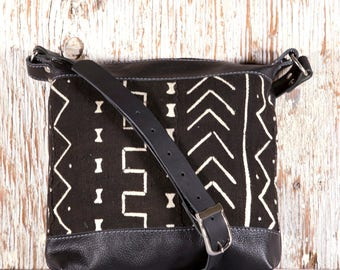 Black Leather Shoulder Bag - Black Leather Cross Body Bag - African mud cloth - Ethnic Leather Bags - Boho Chic