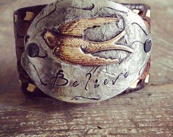 Believe Cuff Bracelet, Distressed Leather Cuff Bracelet