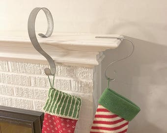 Stocking Hangers | Stocking Hooks | Rustic Decor | Handmade From Recycled Wine Barrel Metal Hoop