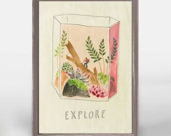 Explore Mini Canvas, Nature Print, Terrarium Print, Nature Art, Terrarium Decor
