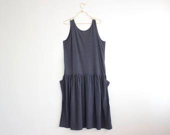 Oversized Black Dress, Stripes Summer Dress, Drop Waist Day Dress, Black and White Tank Maxi Dress with Pockets size L Large