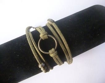 Bronze three towers khaki green Suede, ring and Bead Bracelet