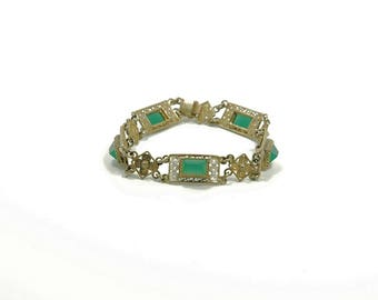 Vintage Estate Jewelry Art Deco Square Linked Ladies Bracelet Green Stones