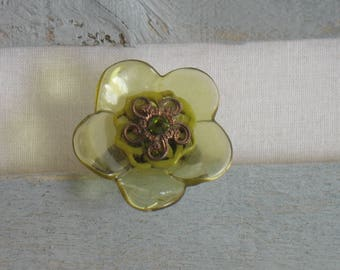 Green and Tan flower ring