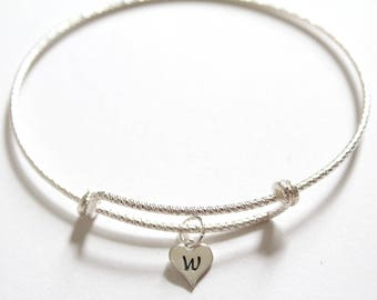 Sterling Silver Bracelet with Sterling Silver W Letter Heart Charm, Silver Tiny Stamped W Initial Heart Charm Bracelet, W Charm Bracelet