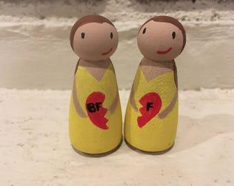 Personalized best friend peg dolls