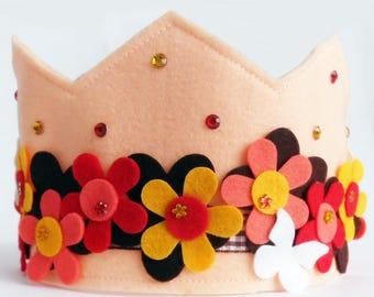 Felt Crown, Birthday Crown, Adjustable Size, Princess Crown, Party Crown, First Birthday Crown, Felt Party Hat, hat, Photo Prop, Crown,