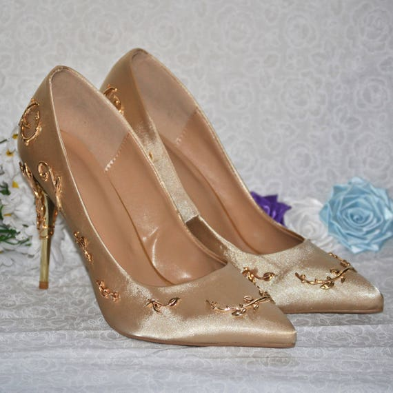 Gold Pointed Toe Wedding Shoes With Metal Leaf Heel Detailing