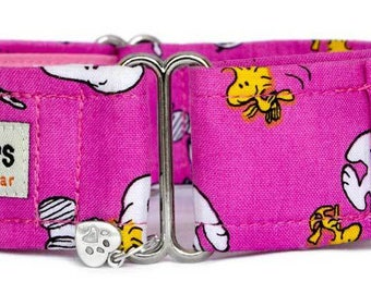 "Noddy & Sweets Adjustable Martingale Collar [1.5"" 2"" Snoopy And Woodstock pink]"