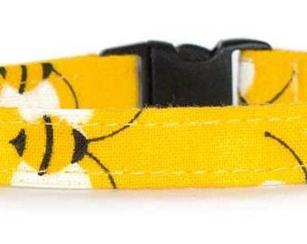 Noddy & Sweets Adjustable Cat Collar with bell and charm [Bumble Bees]