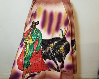 FREE  SHIPPING  1950  Hand  Painted  mexican  skirt