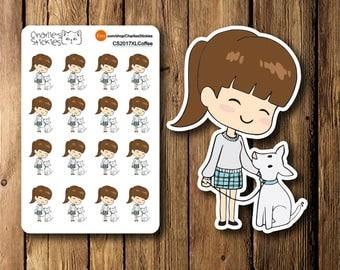 Mini Dog Walk Planner Stickers, Erin Condren, Planner Book Stickers