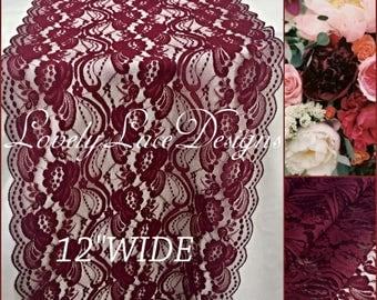 "NEW Burgundy Weddings/ Burgundy Lace Runner/3ft-11ft long x 12"" Wide/Wedding Decor/ Overlay/Tabletop Decor/Centerpiece/FREE runner"