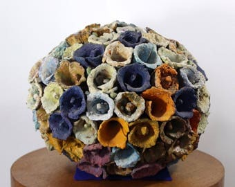 Contemporary Modern Sphere of Cones by Juanita May Textured Ceramic Sculpture