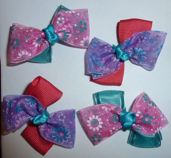 Puppy Bows ~ 4 purple pink teal floral pet hair bow latex band ~Usa seller (fb92)