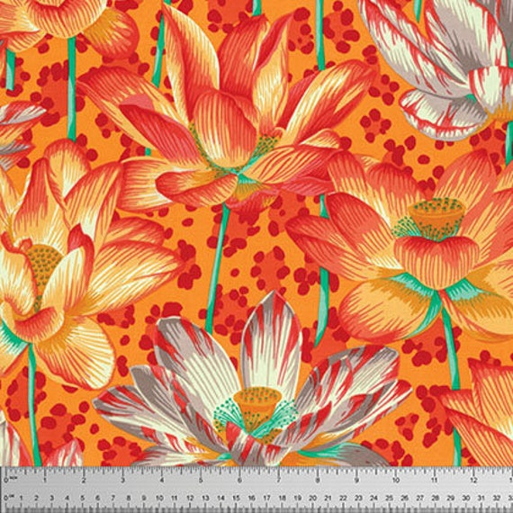 Leopard Lotus Orange Philip Jacobs Kaffe Fassett Collective Sold in 1/2 yd increments