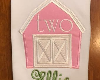 Pink and Green Barn Farm Birthday Shirt or Baby Bodysuit