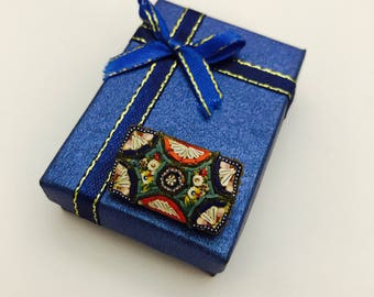 Vintage Miniature Mosaic Brooch Pin Made in Italy