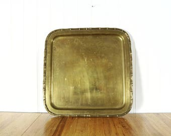Vintage brass tray, square faux bamboo serving tray, decorative tray, bar cart vanity decor, boho home decor, accents, gifts