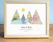 UNFRAMED Adventure Together Print, 4 Map Mountain Print, Personalized Map Art, Wedding Gift Art, Custom Anniversary Print, Gift for Couple