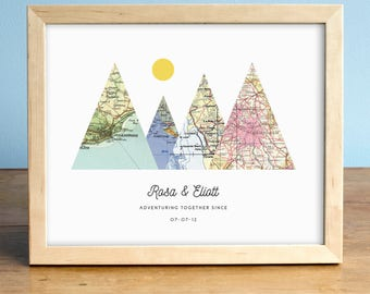 Personalized Map Art Wedding Gifts Anniversary von AGierDesign