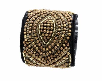 Beaded and Sequined Cuff Bracelet